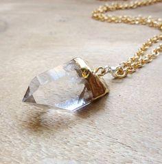 Clear Quartz Necklace Long Gold Necklace Gold Tone by Rozzie, $34.00