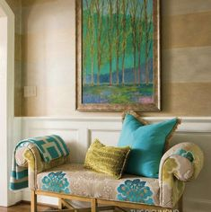 "Designers Guild ""Rastrelli"" Printed Cotton Light Upholstery and Curtain Fabric in Aqua Blue, Green, From Jane Hall Design Bed Cushions Arrangement, Condo Furniture, Coaster Furniture, Painted Furniture, Linen Bedding, Bed Linen, Leather Sectional Sofas, Green Sofa, Living Room Accents"