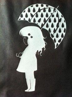 fille au parapluie en flex thermocollant argent : Déco, Customisation Textile par la-fabrique-d-ava