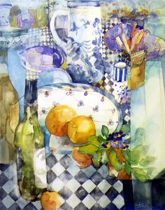 I love the abstraction in Shirley Trevena's watercolours.  Still Life on a Check Cloth - Watercolour 48 x 38 cm
