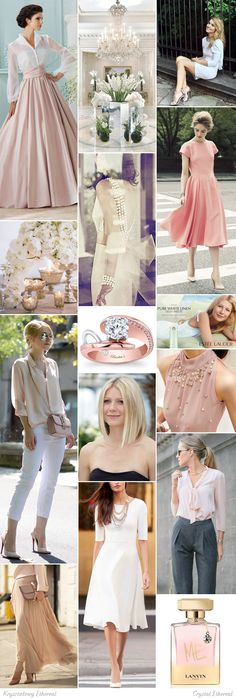 Crystal Ethereal moodboard. One of 18 beauty types created by GretaKredka. Feminine and minimalistic style, flowing tie necks, delicate and high quality fabrics, subtle jewelry, toned and light colors, low contrast. Color essence: Soft Summer, Soft Autumn.