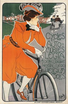 Vintage French Posters Shows A Young Woman Riding A Bicycle While A Couple…
