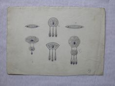 Gustav Gaudernack. Watercolour sketches for six silver/filigree brooches with cabochon amethysts/violet enamel. 1905-1910