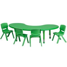 This table set is excellent for early childhood development. Primary colors make learning and play time exciting when several colors are arranged in the classroom. The durable table features a plastic