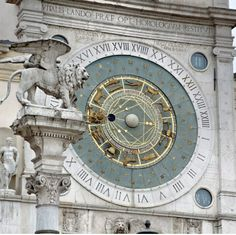 The world's oldest clock at Padua, Italy - The clock tower of Padua (Padova in Italian). The clock is a fifteenth-century remaking of the original one built by Jacopo Dondi by the Clock, in 1344.