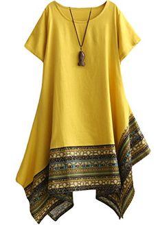 Vogstyle Women's Summer Cotton Linen Short Sleeve Tee Shirt Dress Irregular Hem Tunic Yellow M African Fashion Dresses, African Dress, Fashion Outfits, Dress Fashion, Fashion Women, Ethnic Fashion, Fashion Fall, Indian Dresses, Fashion Trends