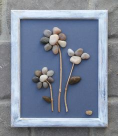 "Pebble Art flower bouquet on a wintery blue background in rustic cream and blue 8.5 x 11 ""open"" wood frame (FREE SHIPPING). by CrawfordBunch on Etsy https://www.etsy.com/listing/224947526/pebble-art-flower-bouquet-on-a-wintery"