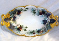 "Prussia Blackberry Serving Dish 13 5"" L Gold Rimmed Excellent Condition 
