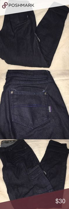 "Women's Patagonia Cargo Jeans Dark blue size 30 women's Patagonia Cargo Jeans. Like new. No signs of wear. Inseam is 32"". Please ask questions. Reasonable offers accepted. Patagonia Jeans"