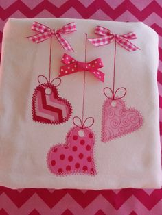 Girls Valentine, Toddler Girls, Baby Girls Valentine's Day String Of Hearts Embellished With Bows Cotton Shirt.