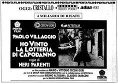 """""""Ho vinto la lotteria di Capodanno"""" (1989) di Neri Parenti, con Paolo Villaggio e Antonio Allocca. Italian release: December 22, 1989 #MoviePosters #ItalianComedy #Fantozzi #PaoloVillaggio"""