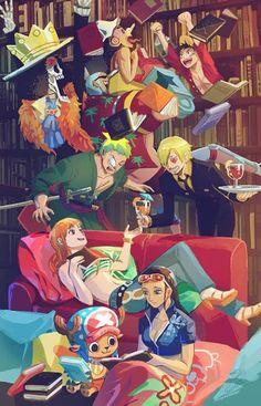 One Piece ~ The Straw Hat Pirates -- Luffy, Zoro, Nami, Usopp, Sanji, Chopper, Robin, Franky, and Brook
