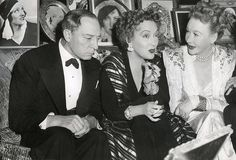 """Buster Keaton, Gloria Swanson and Anna Q. Nilsson on the set of """"Sunset Boulevard"""" 1950."""