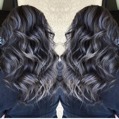 Beautiful silver gray hair highlights over smoky dark brunette hair by @sydniiee She has such a talent for smoky hair color designs as well as vibrant a and pastels. Hotonbeauty.com