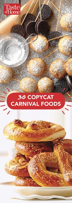 30 Copycat Carnival Foods 30 Copycat Carnival Foods<br> This year skip the carnival lines and create your own copycat recipes at home! Carnival Eats Recipes, Carnival Party Foods, Snack Recipes, Dessert Recipes, Carnival Birthday, Carnival Parties, Birthday Parties, Carnival Recipe, Diy Carnival