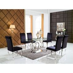 Chicmyroom modern chrome glass venetian dining table set with 6 chairs black velvet CC metal contemporary designer dining Room. Furniture Dining Table, Glass Dining Table, Dining Chairs, Dining Rooms, Modern Furniture Online, Table And Chair Sets, Dining Room Design, House Rooms, Home And Living