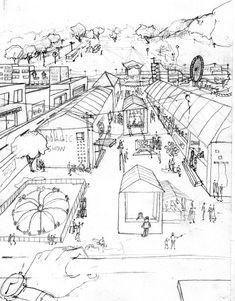 Ideas For Landscape Architecture Poster Projects Landscape Sketch, Landscape Design Plans, Landscape Architecture Design, Landscape Illustration, Urban Landscape, Sketch Architecture, One Perspective Drawing, Perspective Art, Cool Landscapes