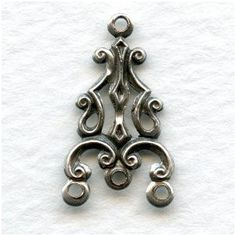 Gothic Style 3 Strand Connector Oxidized Silver
