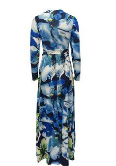 f5607012dad2 DaysCloth Light Blue Floral Print Sashes Plunging Neckline Long Sleeve  Fashion Maxi Dress. Fashion WearWomens ...
