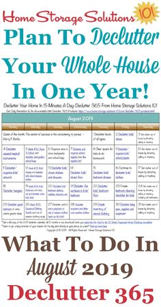 Free printable August 2019 #decluttering calendar with daily 15 minute missions. Follow the entire #Declutter365 plan provided by Home Storage Solutions 101 to #declutter your whole house in a year.