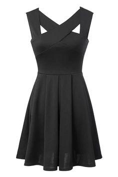 Cross Openwork Solid Color Sleeveless Dress