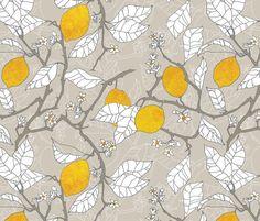 The lemon orchard fabric by nouveau_bohemian on Spoonflower - custom fabric