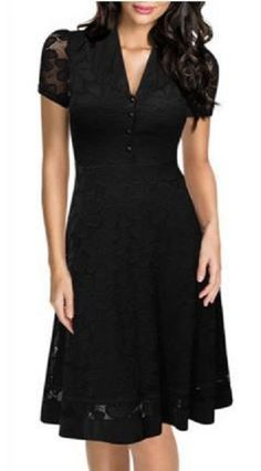 Black Vintage Style V-Neck Short Sleeve Black Lace Women's Cocktail Dress