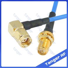 """RP-SMA female to RP-SMA male right angle RF connector with RG405 RG086 Coaxial Jumper blue cable 8 inch 8"""" 20cm RF Low Loss Coax #Affiliate"""
