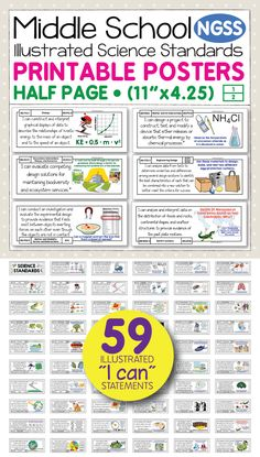 Bring the NGSS science standards to life with these easy-to-use, printable posters for middle school science. They are perfect for showing students, parents, and administrators the science standard that is at the root of your lesson. The illustrations and kid-friendly language help students make sense of the standards. Compatible with the Next Generation Science Standards for 6th, 7th, and 8th grades.