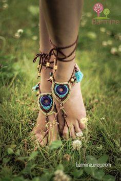 Sandals Barefoot Tribal Jewelry Peacock Czech Beads Crochet Pé Hippie Festival desgaste da ioga Praia Boho Anklet sapatos casamento do destino