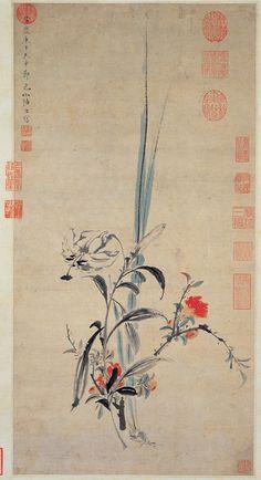 明 陸治 榴花小景 Intimate Scenery of Pomegranate Blossoms Lu Zhi (1496-1576), Ming dynasty