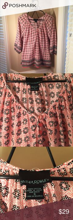 Cynthia Rowley Beautiful Blouse -Like New Condition -Worn Only a Couple of Times -Very Comfortable Material -100% Cotton Cynthia Rowley Tops Blouses