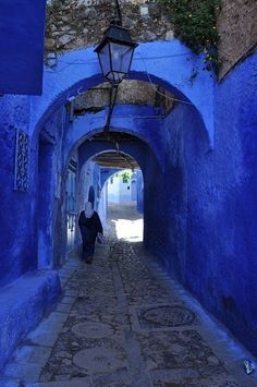 walkway surrounded by blue walls...Morocco