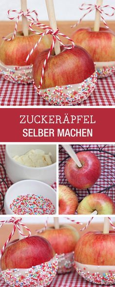 Dekor-Idee für süße Zuckeräpfel, Kindergeburtstag / party food: how to make apples with sweet decor via DaWanda.com