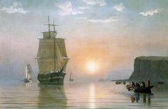 Sunrise off Grand Manan, Oil On Canvas by William Bradford (1590-1657, United Kingdom)