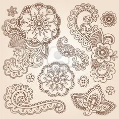 Illustration of Hand-Drawn Intricate Abstract Flowers and Mandala Mehndi Henna Tattoo Paisley Doodle - Illustration vector art, clipart and stock vectors. Mehndi Tattoo, Henna Mehndi, Henna Art, Mehendi, Henna Tattoos, Hand Tattoo, Maori Tattoos, Tatoos, Paisley Doodle