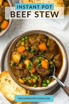 An Easy Instant Pot Beef Stew Recipe everyone will love! This quick beef soup is delicious, healthy, hearty and so tender from the pressure cooker. We like to add red wine for flavor but there are so many ways to customize it! Truly the best instant pot stew! Healthy Beef Recipes, Easy Clean Eating Recipes, Healthy Meal Prep, Lunch Recipes, Free Recipes, Slow Cooker Chicken Stew, Pressure Cooker Beef Stew, Easy Beef Stew, Instant Pot Beef Stew Recipe
