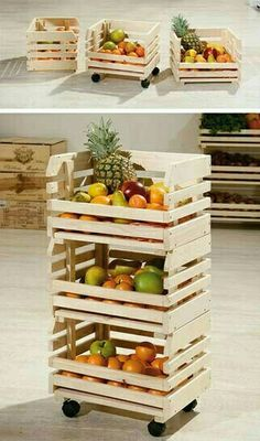 Yesterday findest of the die weltbesten DIY Party Deko Bastelideen! - MENDY - The Sunday decor idea: Vegetable storage on wheels – Deco # # - Palette Diy, Diy Holz, Wood Crates, Wooden Boxes, Wooden Benches, Wooden Rack, Milk Crates, Pallet Furniture, Furniture Ideas