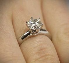 """The classic """"Tiffany Style"""" Six Prong Diamond Solitaire Engagement Ring by Vatche for Whiteflash. Timeless! 