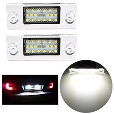[US$11.59] 2 x Error Free LED SMD License Plate Lights For Audi A4 S4 B5 1998-2001 White  #19982001 #audi #error #free #license #lights #plate #white