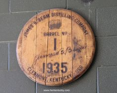 Barrel head from the very first barrel of Jim Beam bourbon