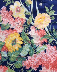 Vtg Waverly Schumacher Fabric Blue Floral 84 X 45 Yellow Pink Crease Resistant #Waverly