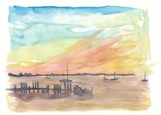 """Saatchi Art is pleased to offer the painting, """"Florida Keys Romantic Sunset with Boats,"""" by M Bleichner, available for purchase at $369 USD. Original Painting: Watercolor on Paper. Size is 7.9 H x 11.8 W x 0.4 in. Cityscape Silhouette, Silhouette Art, Barbados, Original Paintings For Sale, Original Artwork, Skyline Painting, Caribbean Art, Beach Art, Sunset Beach"""
