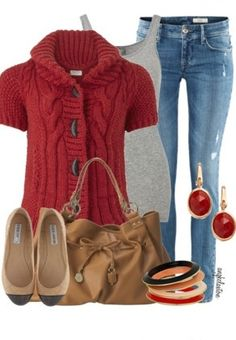 Fall clothes - love the sweater, not crazy about the shoes, thought!  I'd wear a chunky black shoe or boot