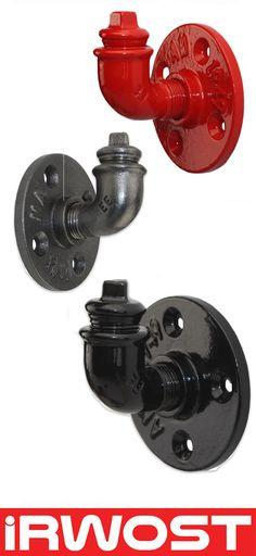 Irwost – l'Original - Tür Mantel, Loft Kleiderhaken Deko Design industriellen Epoxidharz Retro & Steampunk in Rohren und Verschraubungen schwarz