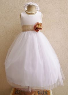 Simple Flower Girl Dress White with Colorful Sash by mykidstudio, $30.00