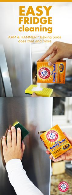 Looking for a quick way to make your stainless steel fridge sparkle? Here it is: sprinkle ARM & HAMMER™ Baking Soda on a sponge, scrub and rinse. That's how easy it is to add sparkle and shine to your fridge exterior! Cleaning Stainless Steel Fridge, Clean Fridge, Diy Stainless Steel Cleaner, Fridge Cleaning, Healthy Fridge, Natural Cleaning Solutions, Natural Cleaning Products, Natural Products, Cleaners Homemade