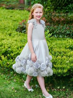 40a295a4186 Knee-Length Ball Gown Flowers Scoop Flower Girl Dress #wedding  #flowergirldresses #girlsformaldresses