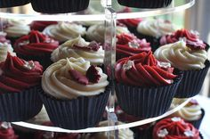 Burgundy and cream wedding cupcakes by Little Miss Cupcakes, via Flickr