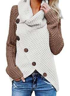 TEMOFON Women's Casual Turtle Cowl Neck Sweater Long Sleeve Button Asymmetric Hem Wrap Pullover Sweaters Tops Green Gray L: Clothing Get this best cute hoodie outfits for coffee date Wrap Sweater, Long Sleeve Sweater, Batwing Sleeve, Sweater Sale, Pulls, Pullover Sweaters, Knit Sweaters, Fleece Sweater, Comfy Sweater